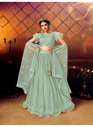 Artistical Green Color Net Fabric Party Wear Lehenga