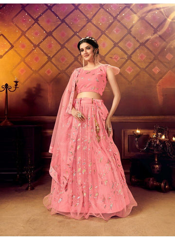 Artistical Pink Color Net Fabric Party Wear Lehenga