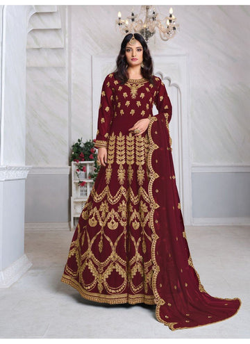 Impactful Maroon Color Georgette Fabric Wedding Suit