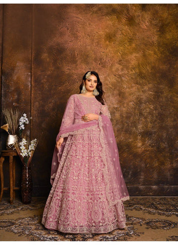 Peerless Purple Color Net Fabric Wedding Suit