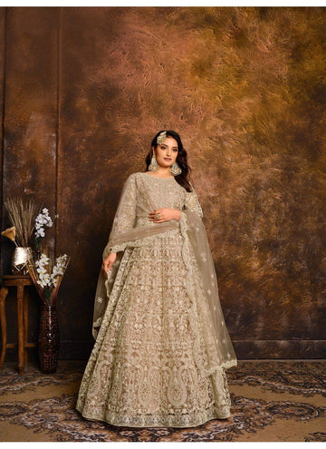 Peerless Beige Color Net Fabric Wedding Suit