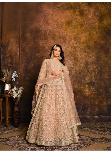 Peerless Peach Color Net Fabric Wedding Suit