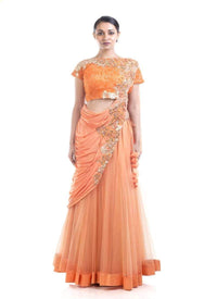 Stunning Orange Color Silk Fabric Saree