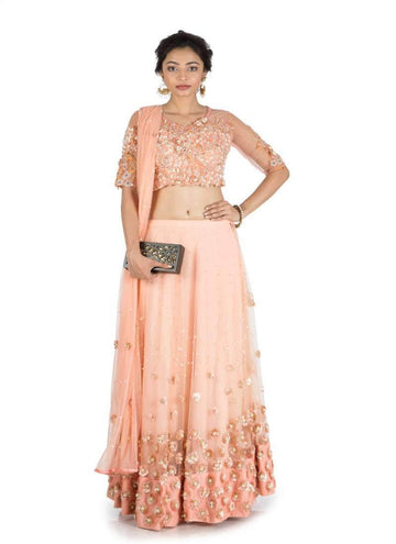 Stunning Peach Color Net Fabric Wedding Lehenga