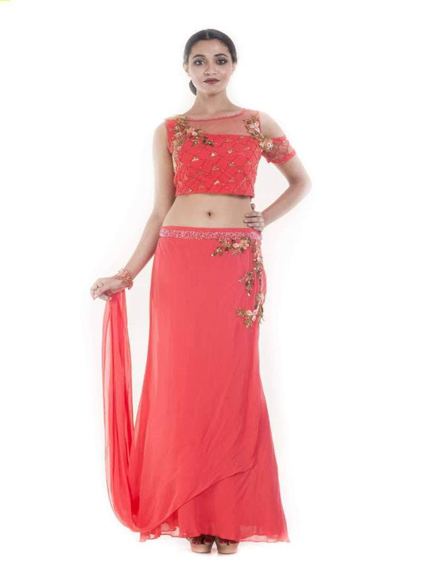 Gorgeous Coral Color Georgette Fabric Indowestern