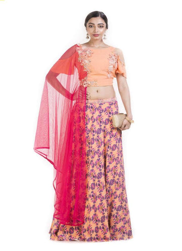 Gorgeous Peach Color Crepe Fabric Designer Lehenga