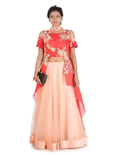 Stunning Coral Color Georgette Fabric Party Wear Lehenga