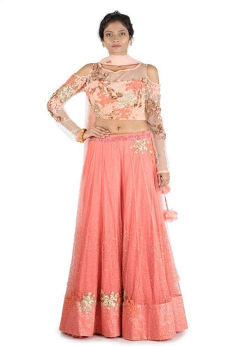 Stunning Peach Color Net Fabric Party Wear Lehenga