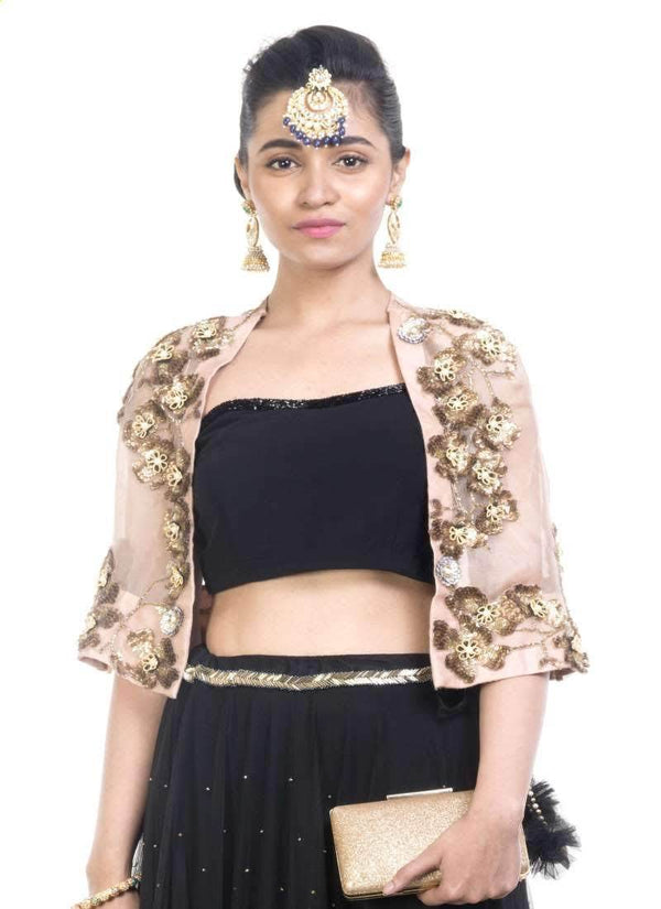 Exclusive Black Color Georgette Fabric Indowestern