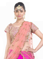 Exclusive Pink Color Raw Silk Fabric Party Wear Lehenga