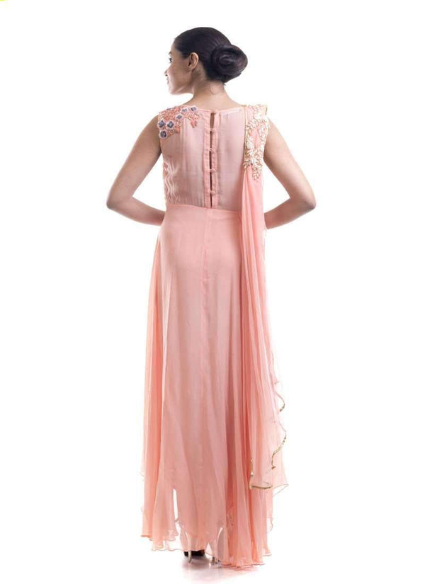 Stunning Peach Color Georgette Fabric Salwar Kameez