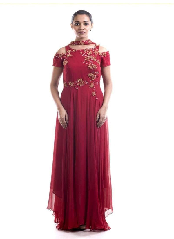 Stunning Red Color Georgette Fabric Salwar Kameez