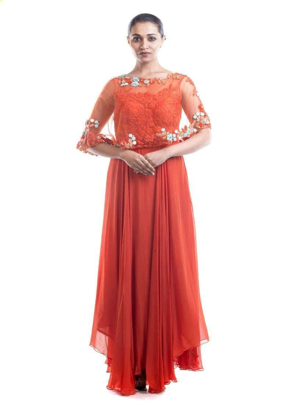 Stunning Orange Color Georgette Fabric Gown