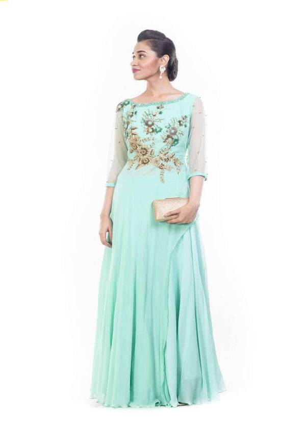 Exclusive Aqua Color Georgette Fabric Plazzo and Pant