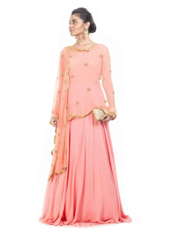 Exclusive Peach Color Georgette Fabric Partywear Suit