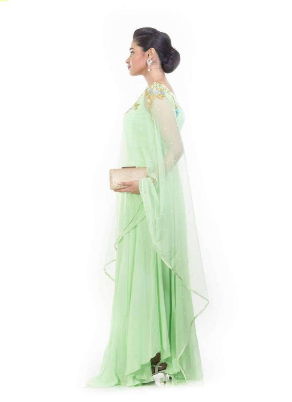 Exclusive Green Color Georgette Fabric Gown
