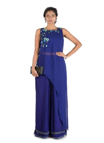 Stunning Navy Blue Color Georgette Fabric Indowestern