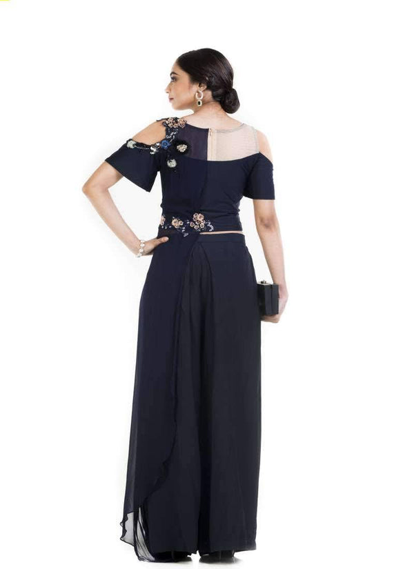 Gorgeous Navy Blue Color Georgette Fabric Indowestern