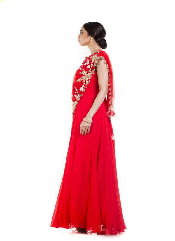 Gorgeous Red Color Georgette Fabric Gown