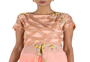 Stunning Peach Color Georgette Fabric Partywear Lehenga