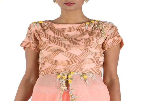 Stunning Peach Color Georgette Fabric Party Wear Lehenga