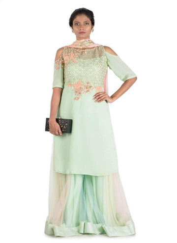 Stunning Turquoise Color Georgette Fabric Plazzo Suits