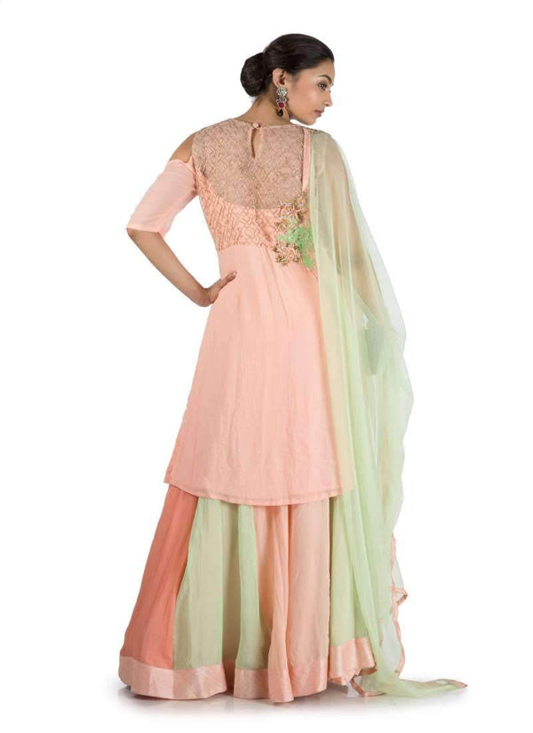 Stunning Peach Color Georgette Fabric Plazzo Suit