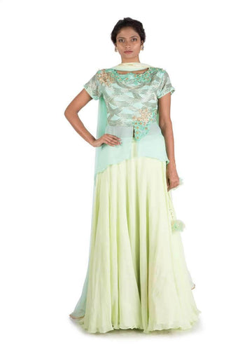 Stunning Turquoise Color Georgette Fabric Party Wear Lehenga