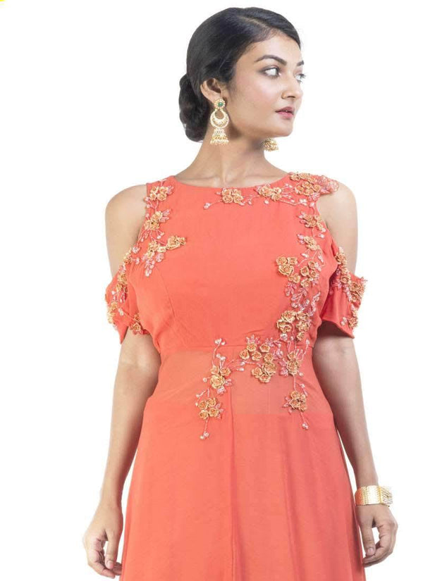 Sensational Orange Color Georgette Fabric Designer Kurti