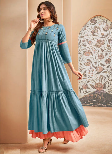 Alluring Blue Color Cotton Fabric Designer Kurti