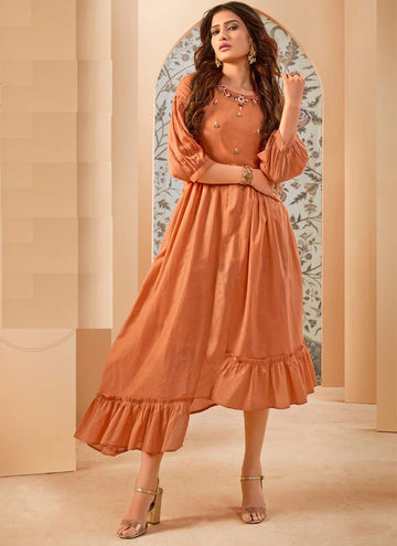 Alluring Orange Color Cotton Fabric Designer Kurti