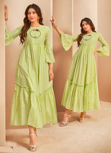 Alluring Green Color Cotton Fabric Designer Kurti