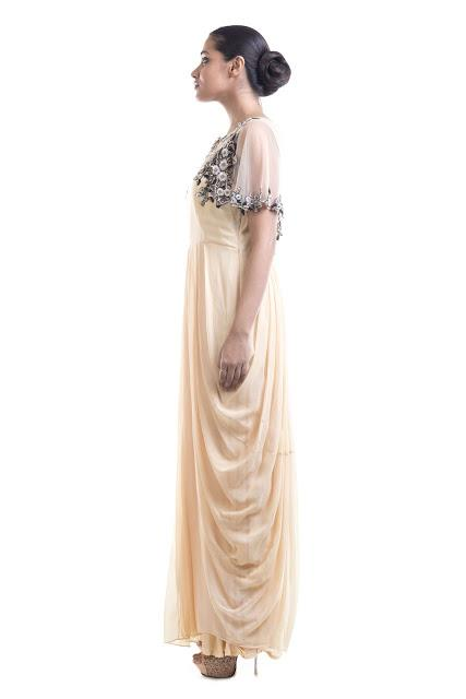 Stunning Cream Color Georgette Fabric Gown