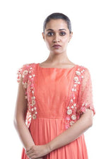 Stunning Orange Color Organza Fabric Kurti