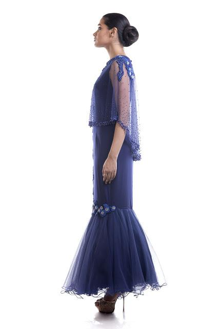 Stunning Blue Color Lycra Fabric Gown