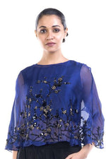 Stunning Navy Blue Color Organza Fabric Kurti