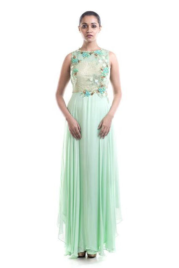 Stunning Turquoise Color Georgette Fabric Gown