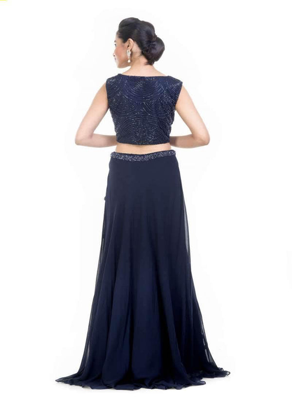 Exclusive Navy Blue Color Net Fabric Indowestern
