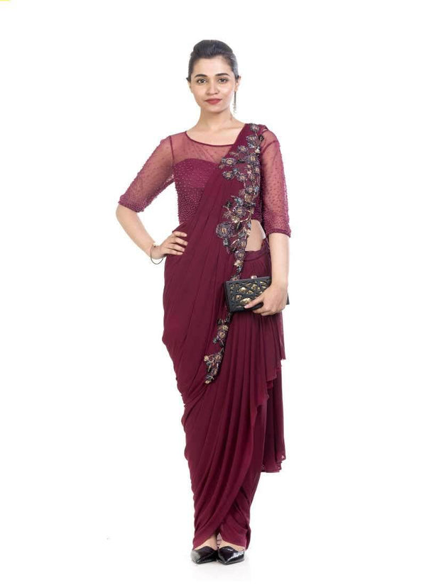 Exclusive Wine Color Net Fabric Dhoti Drape Indowestern