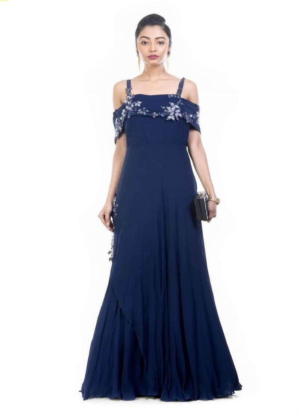 Exclusive Navy Blue Color Georgette Fabric Gown