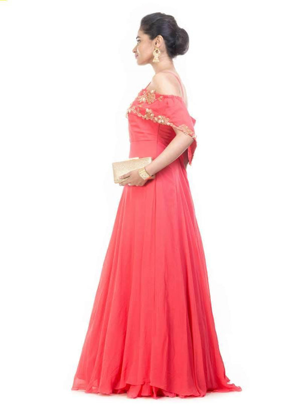 Exclusive Red Color Georgette Fabric Gown
