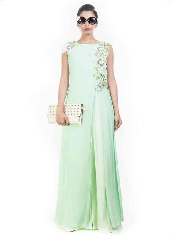 Exclusive Turquoise Color Crepe Fabric Jumpsuit