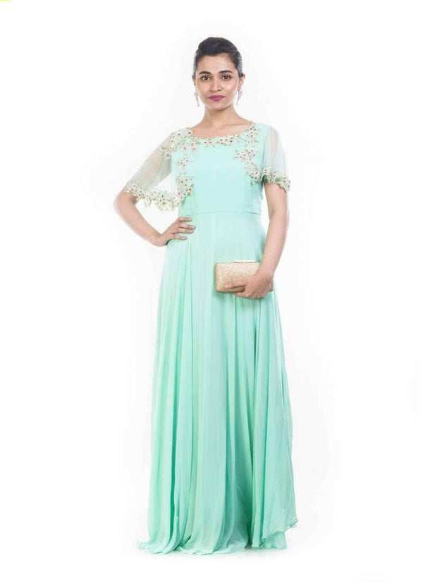 Exclusive Aqua Color Georgette Fabric Gown