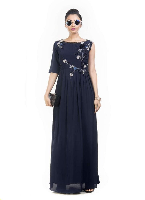 Exclusive Navy Blue Color Crepe Fabric Gown