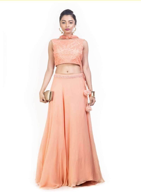 Exclusive Peach Color Georgette Fabric Designer Lehenga