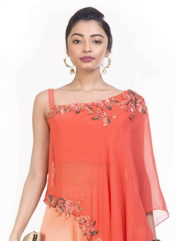 Exclusive Orange Color Georgette Fabric Indowestern