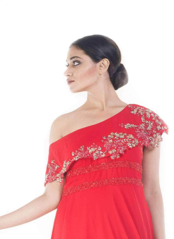 Pordigious Red Color Georgette Fabric Gown