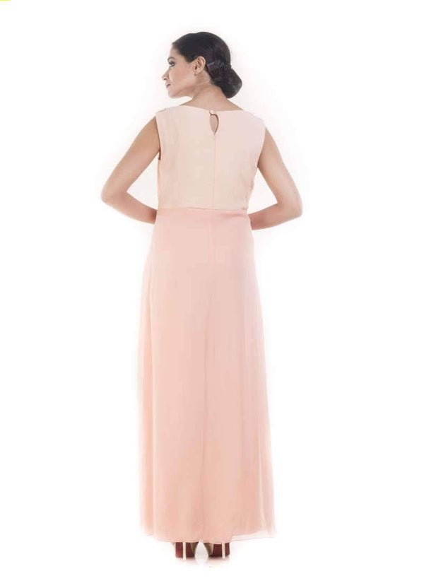 Pordigious Pink Color Crepe Fabric Gown
