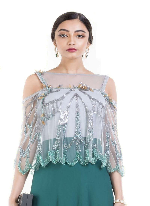 Gorgeous Teal Color Georgette Fabric Gown