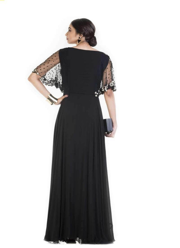 Gorgeous Black Color Georgette Fabric Gown